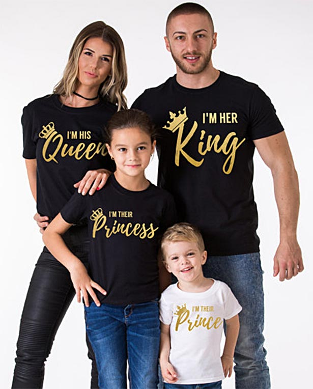 Camisetas Queen King en dorado