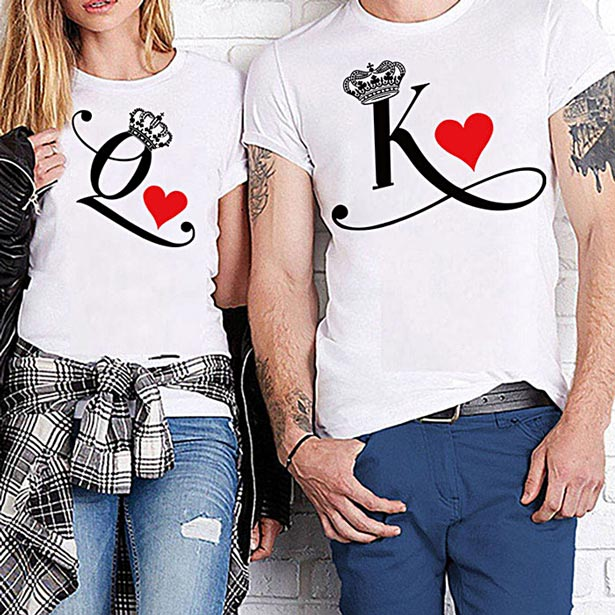 Camisetas de King y Queen con letras
