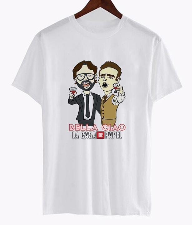 Camiseta El Profesor y Berlín cantando Bella Ciao